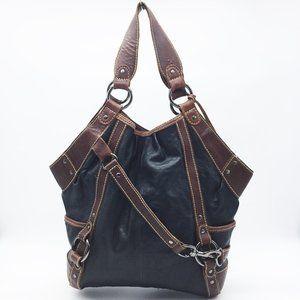 JOES Large Black & Brown Leather Shoulder Bag